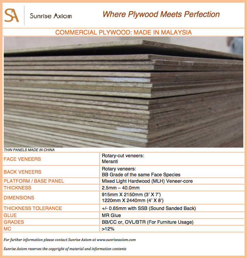 Commercial Plywood - Malaysia