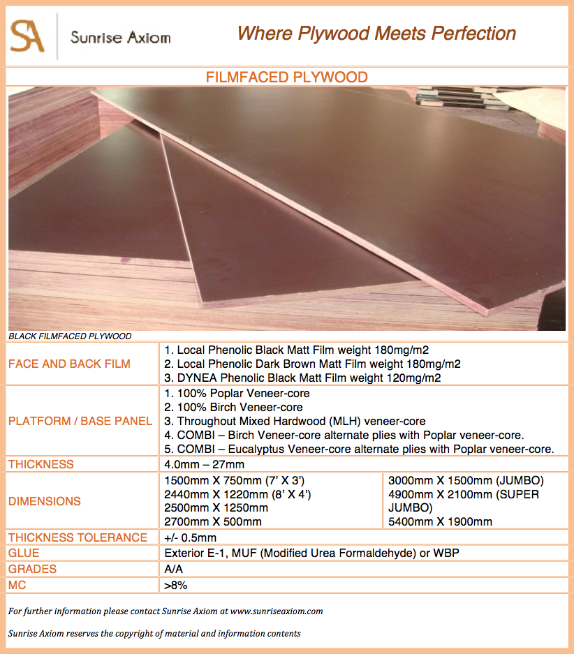 Filmfaced plywood specifications sheet sunrise axiom for Spec sheet for new home construction